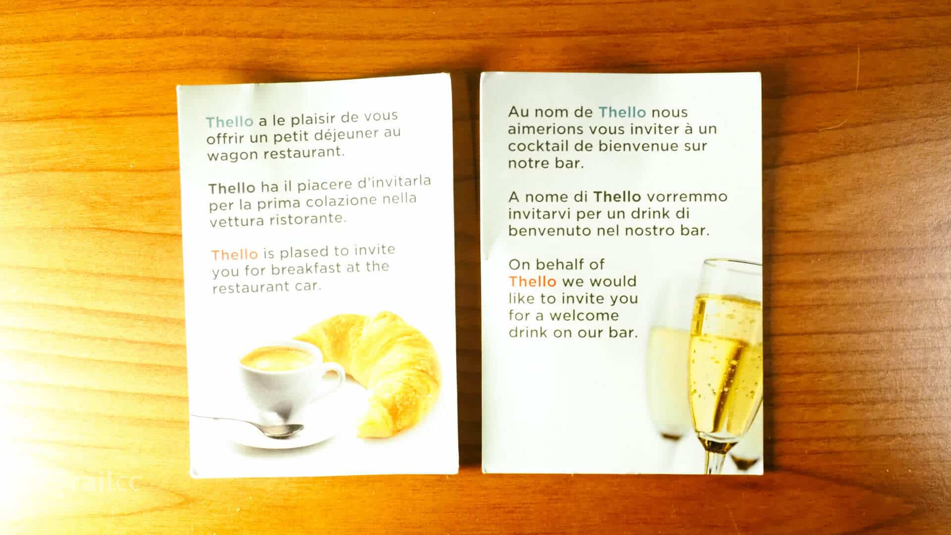 The Thello welcome drink on board of the sleeper cars.