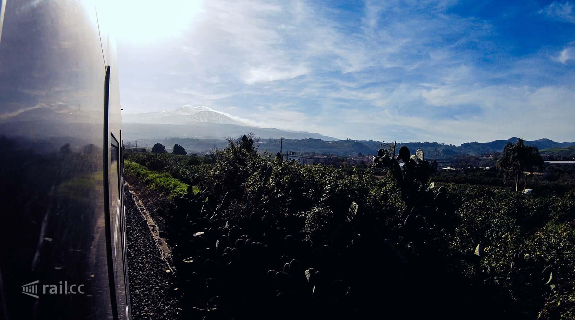 The night train arrives at volcano Etna.