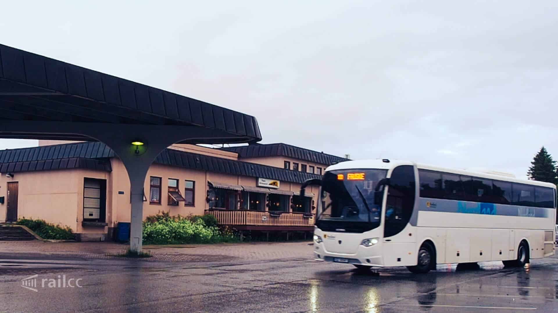 The bus from Narvik at Fauske train station.