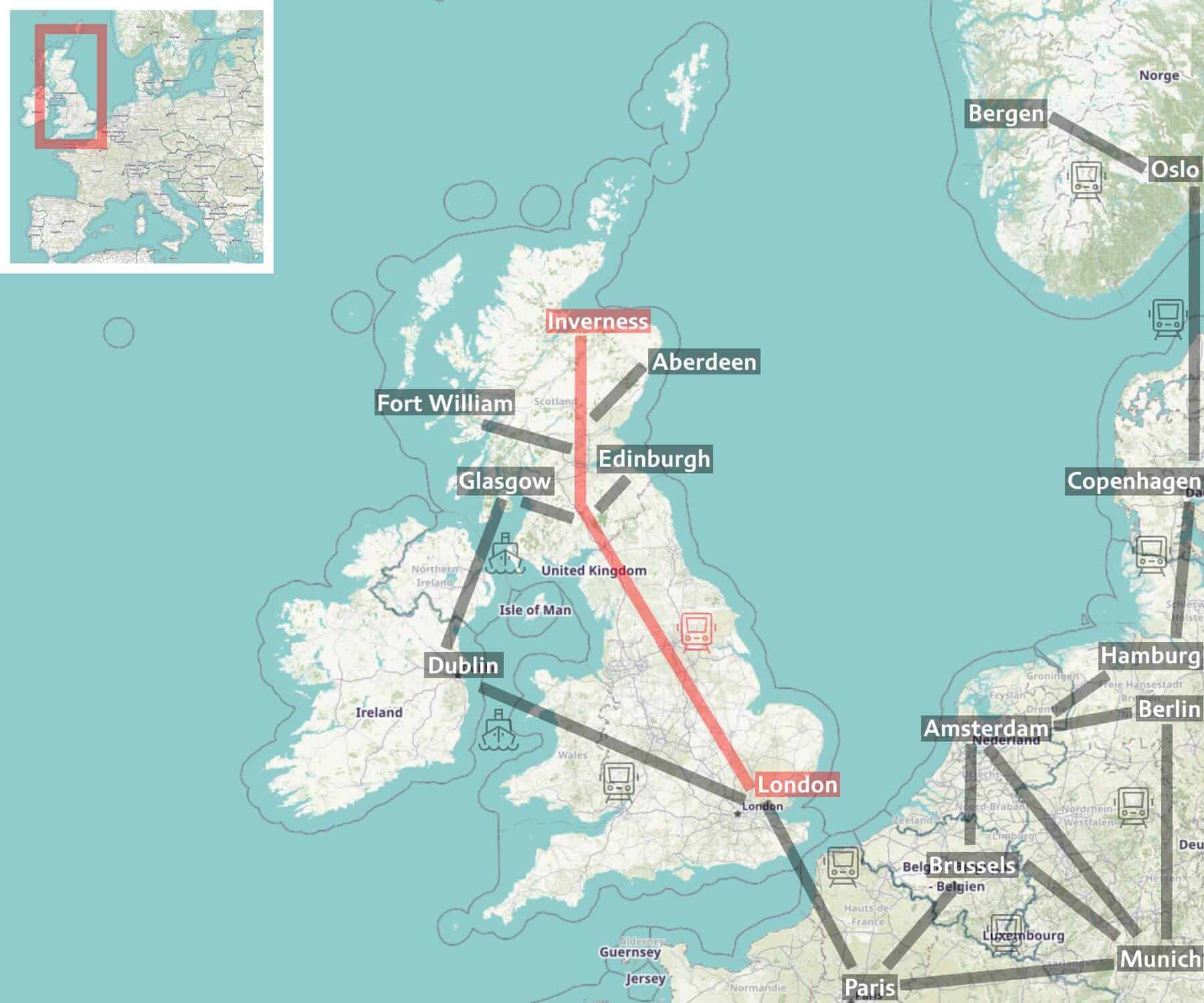 Map of Caledonian Sleeper network - from London to Scotland