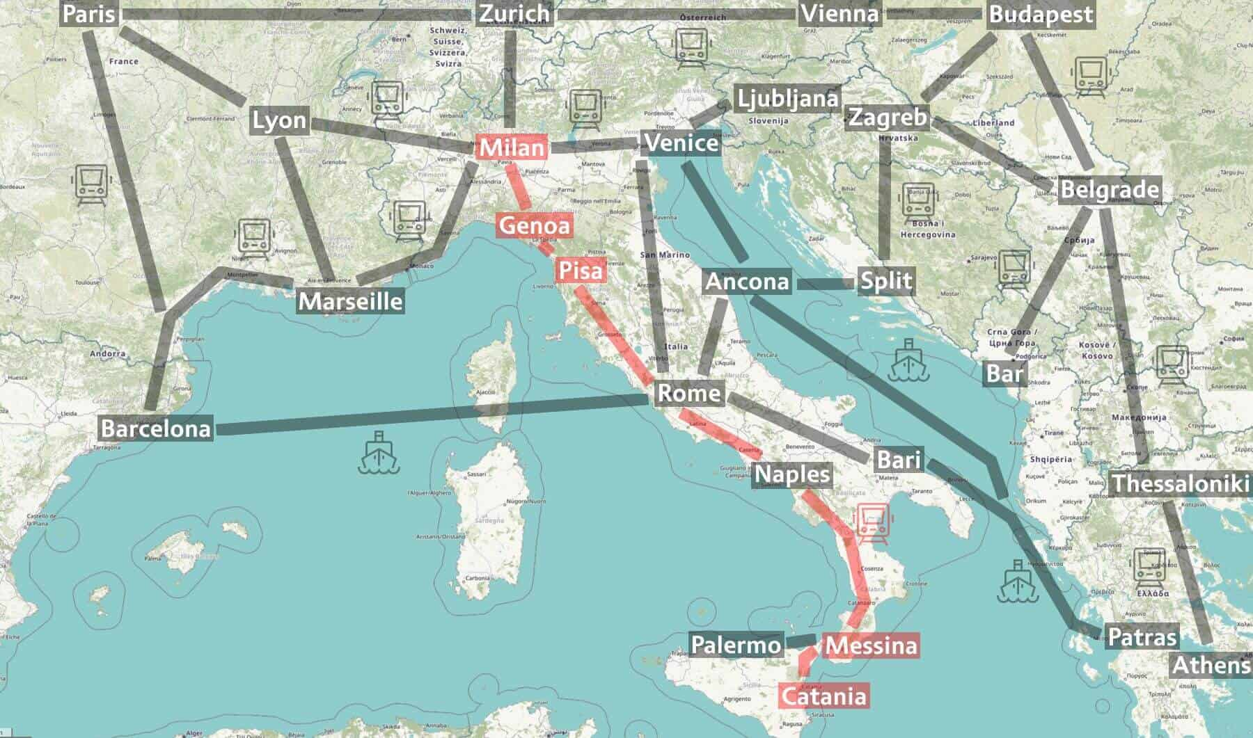 Map of Trenitalia Intercity Notte from Milan to Sicily.