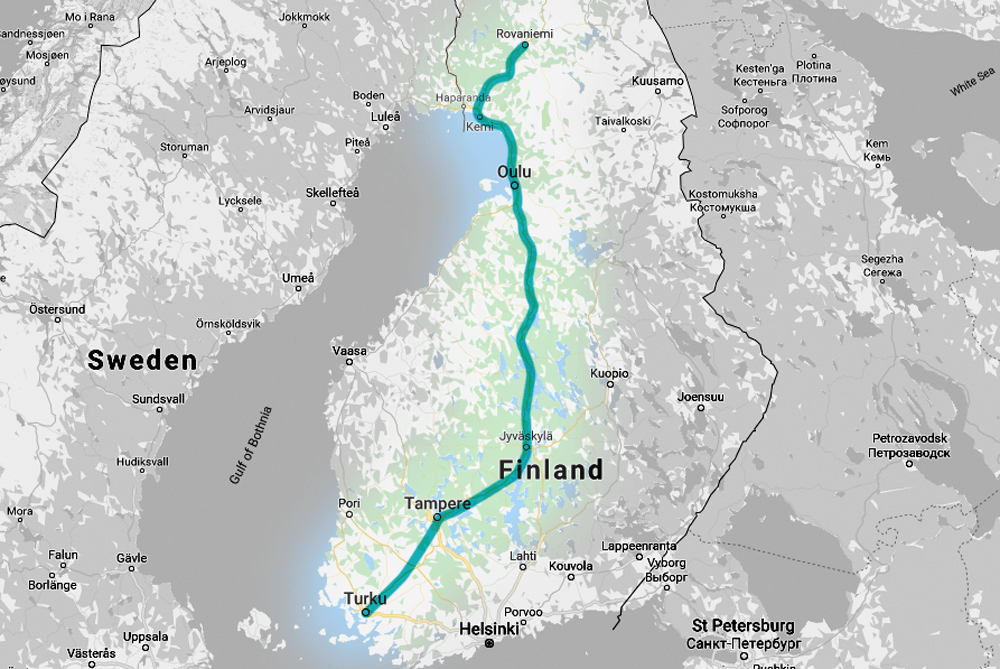 VR night train: route map from Rovaniemi to Turku