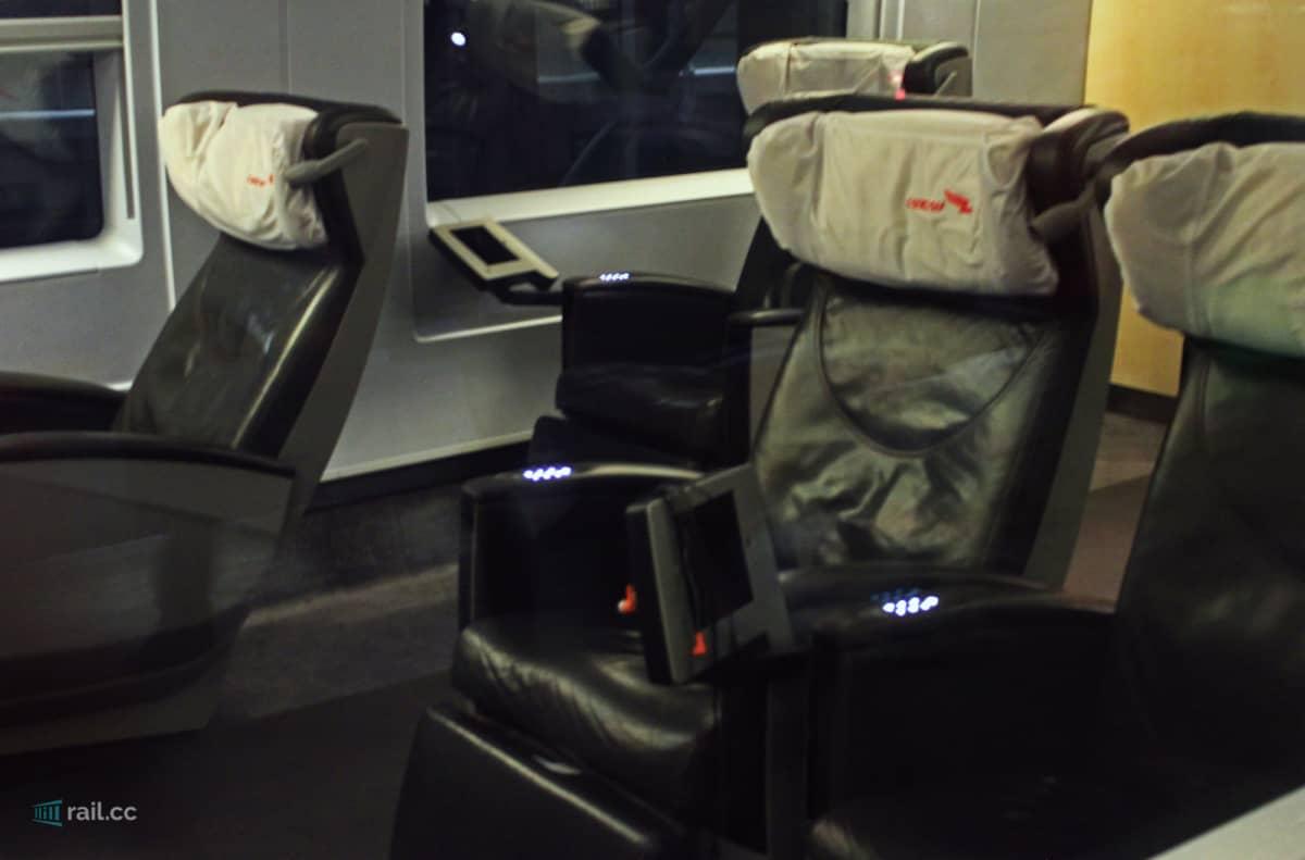 First class in Sapsan train - view through glass