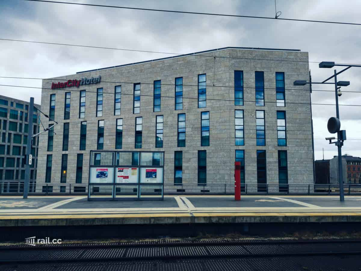 Intercity Hotel Berlin directly at the main station - view from the tracks to the hotel