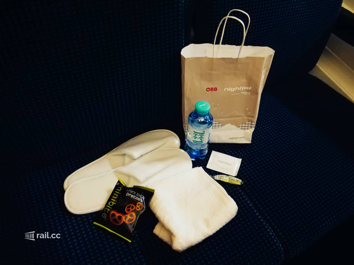 Welcome pack in the Nightjet