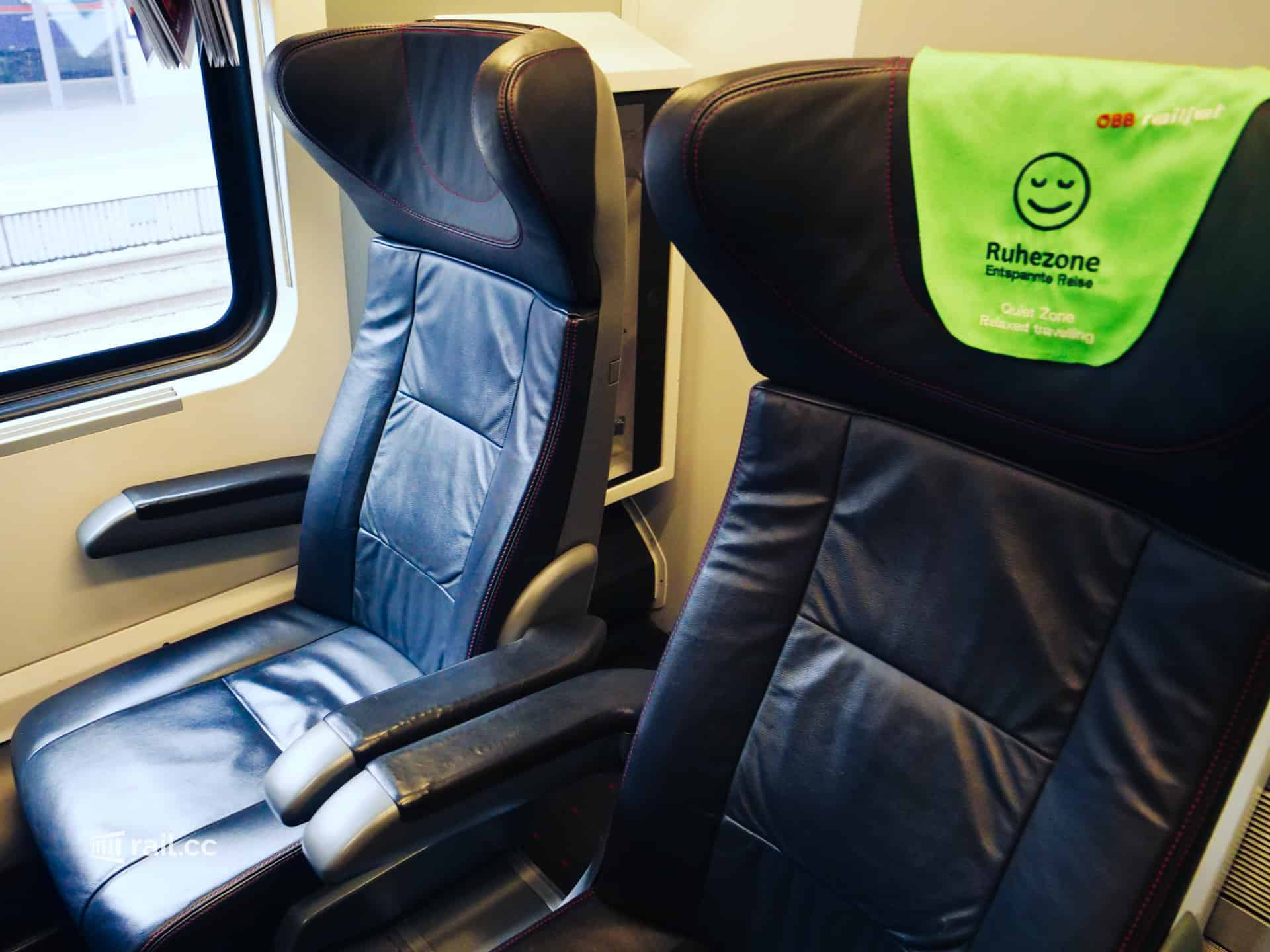 Quiet zone in the Railjet First Class