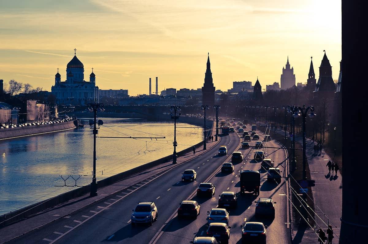 Die Moskauer Skyline beim Kreml.