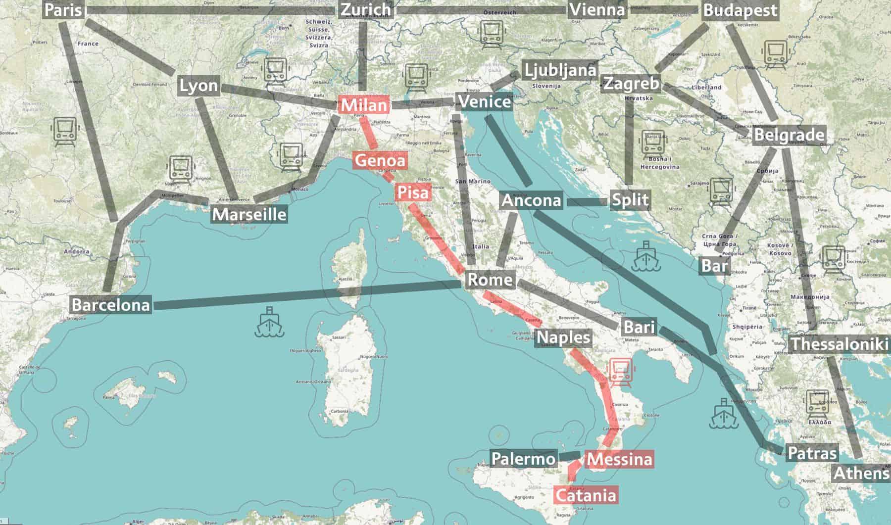 Sizilien Karte ätna.Zugreise Von Mailand Zum Vulkan ätna Auf Sizilien Nachtzug