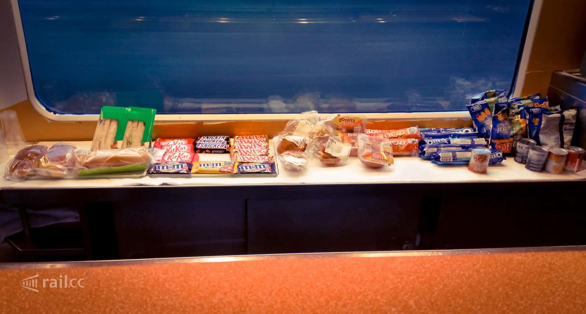 Alle Snacks auf einen Blick im Nachtzug von Madrid nach Lissabon.