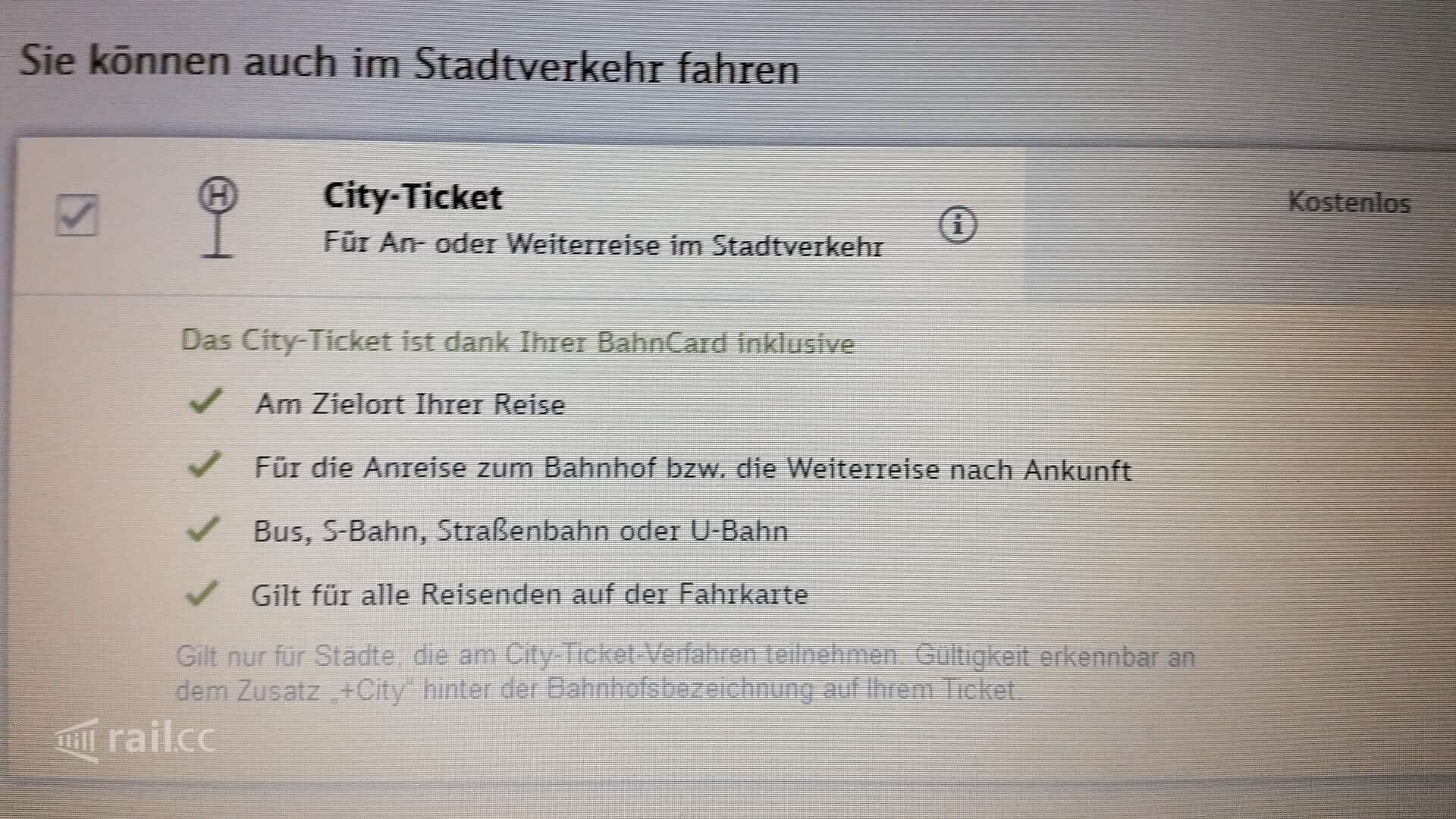 Das Cityticket der Deutschen Bahn bei Fernreisen inklusive