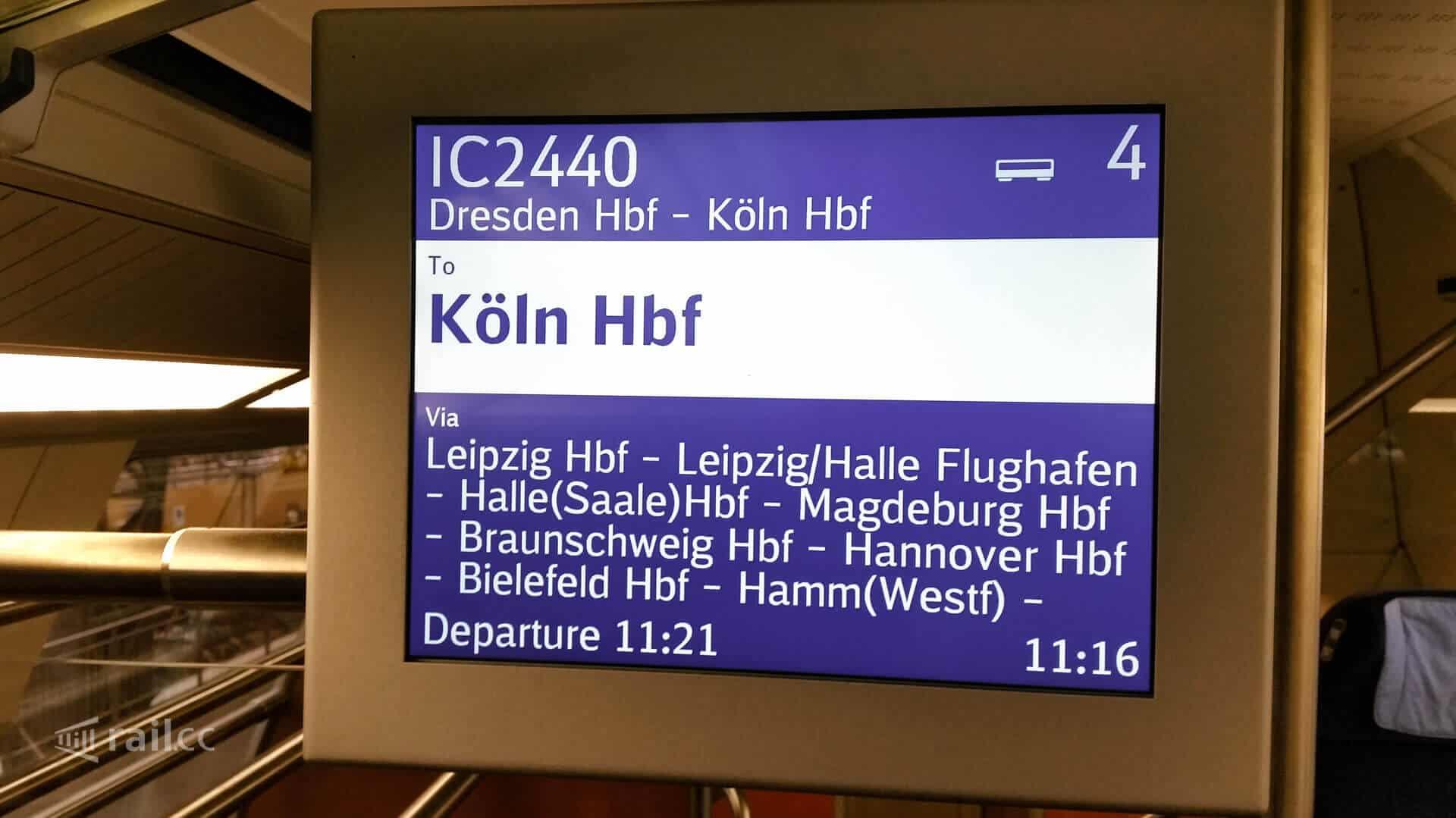 Die Zwischenhalte des IC von Dresden nach Köln