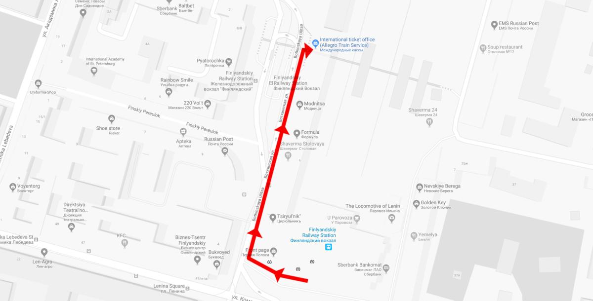 Fußweg zur Abfahrt des Allegro Zugs in Sankt Petersburg