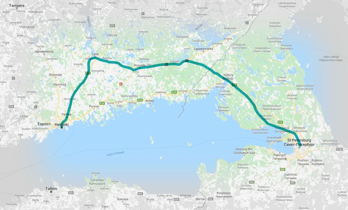 Bahnstrecke von St-Petersburg nach Helsinki