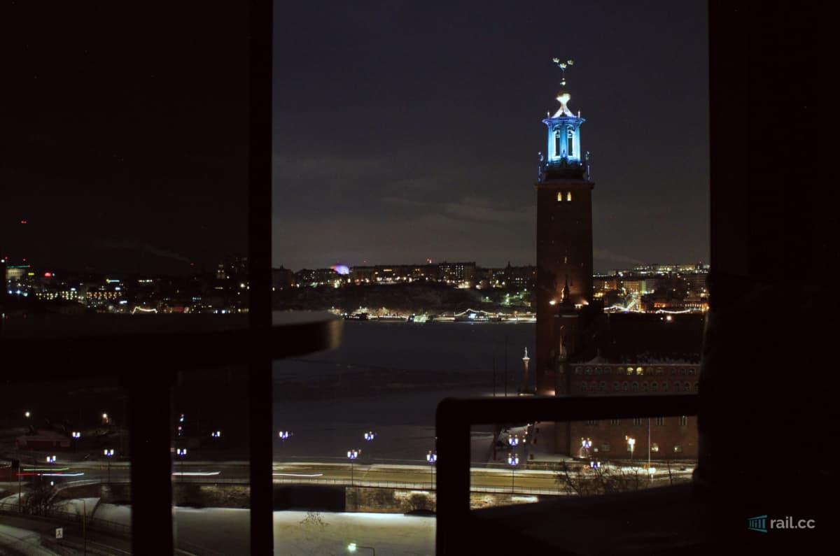 Stockholm Hotelzimmer - Blick bei Nacht